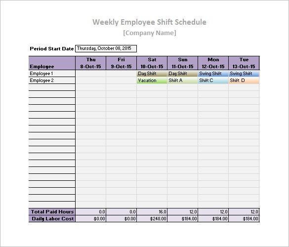 19 Daily Work Schedule Templates Samples Docs PDF