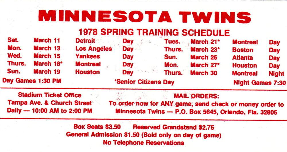 1978 MINNESOTA TWINS BASEBALL SPRING TRAINING POCKET