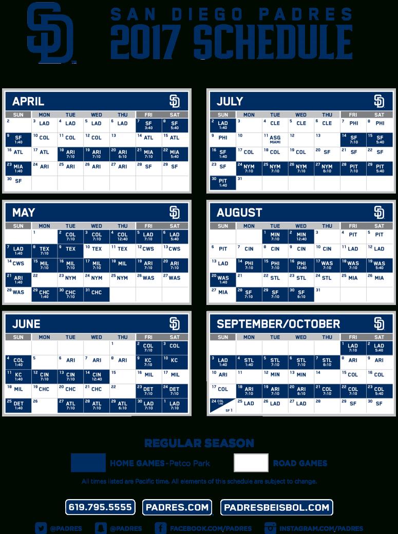 2017 San Diego Padres Season Schedule San Diego Padres