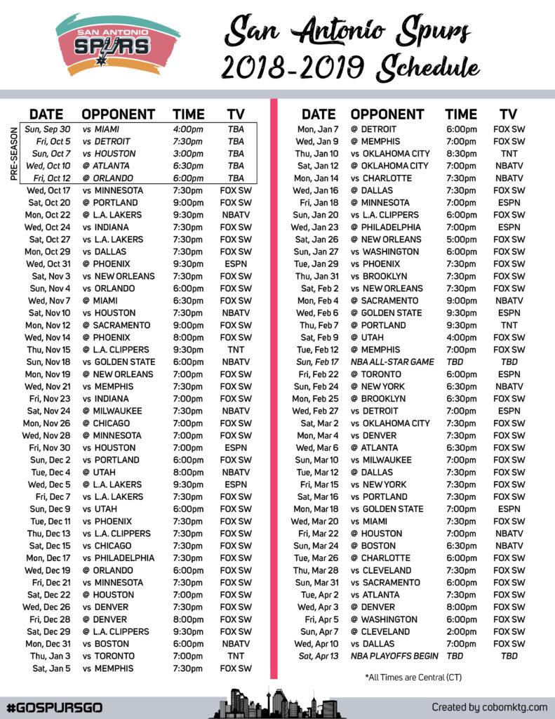 2018 2019 San Antonio Spurs Printable Schedule Cody Box