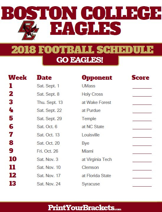 2018 Printable Boston College Eagles Football Schedule