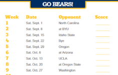 2018 Printable California Golden Bears Football Schedule