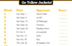 2018 Printable Georgia Tech Yellow Jackets Football
