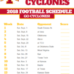2018 Printable Iowa State Cyclones Football Schedule