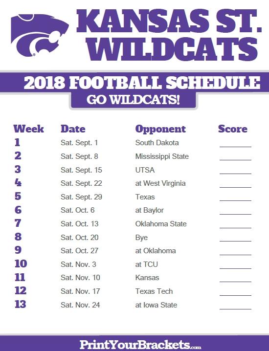 2018 Printable Kansas State Wildcats Football Schedule