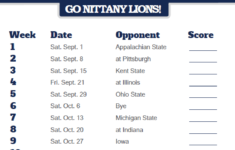 2018 Printable Penn State Nittany Lions Football Schedule
