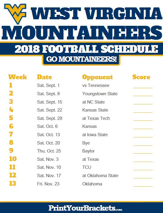 2018 Printable West Virginia Mountaineers Football