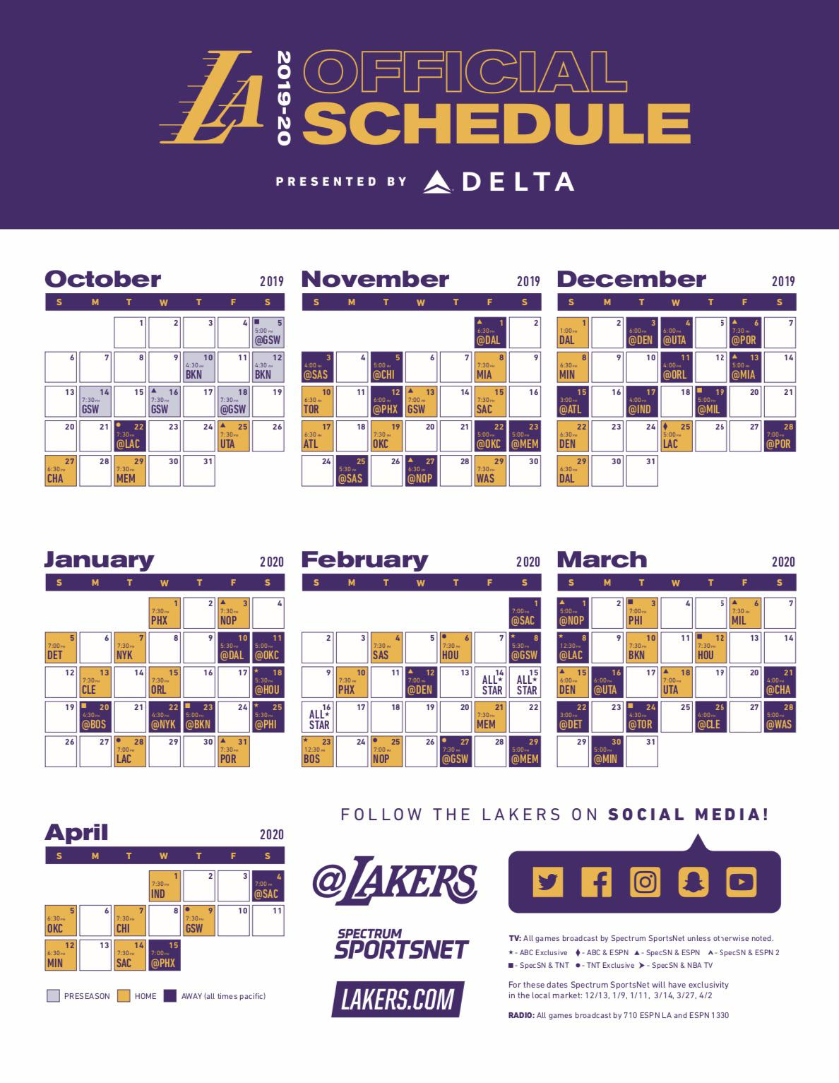 2019 20 Lakers Schedule Released RealGM