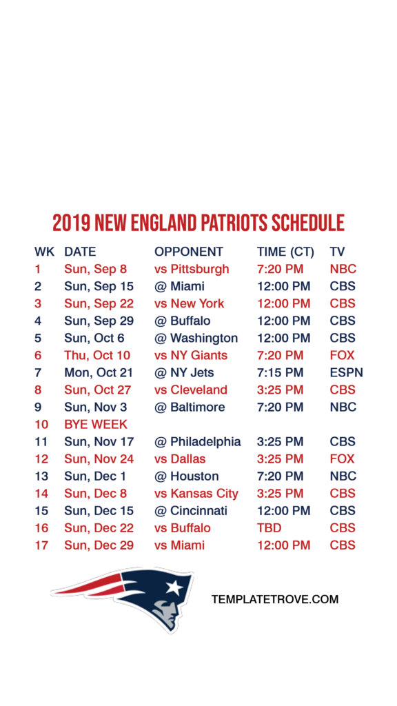 2019 2020 New England Patriots Lock Screen Schedule For