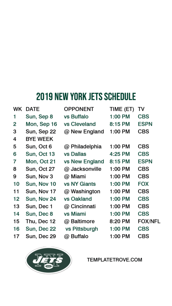2019 2020 New York Jets Lock Screen Schedule For IPhone 6