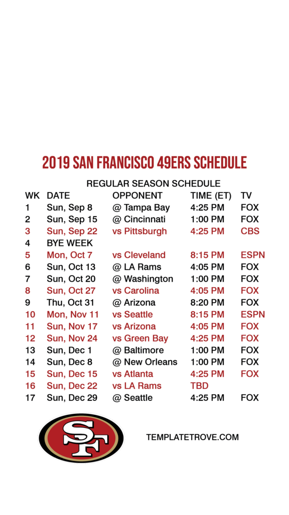 2019 2020 San Francisco 49ers Lock Screen Schedule For