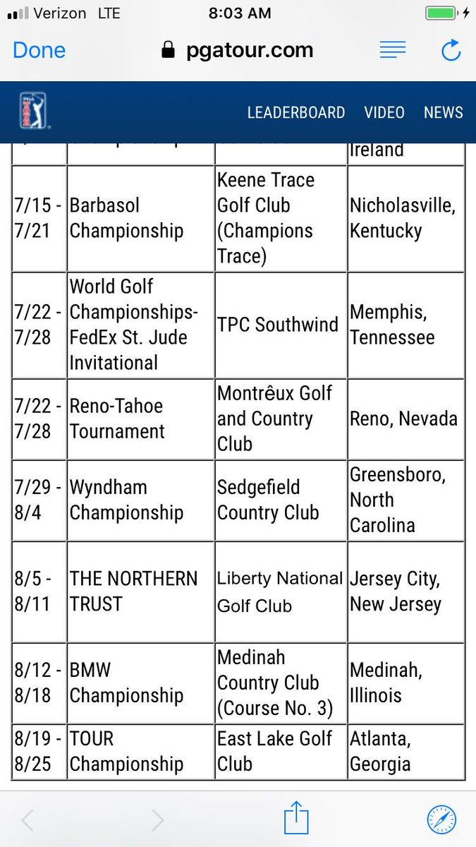 2019 Pga Tour Schedule Download 2020 Calendar Printable
