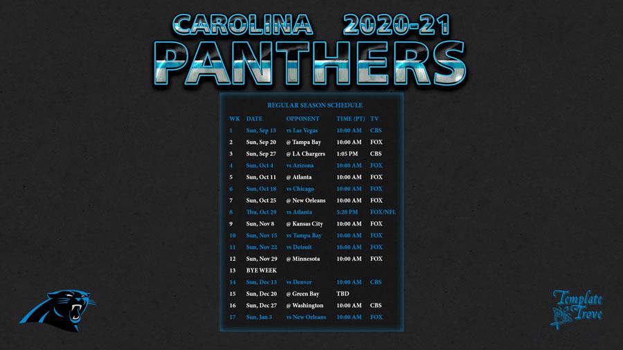 2020 2021 Carolina Panthers Wallpaper Schedule