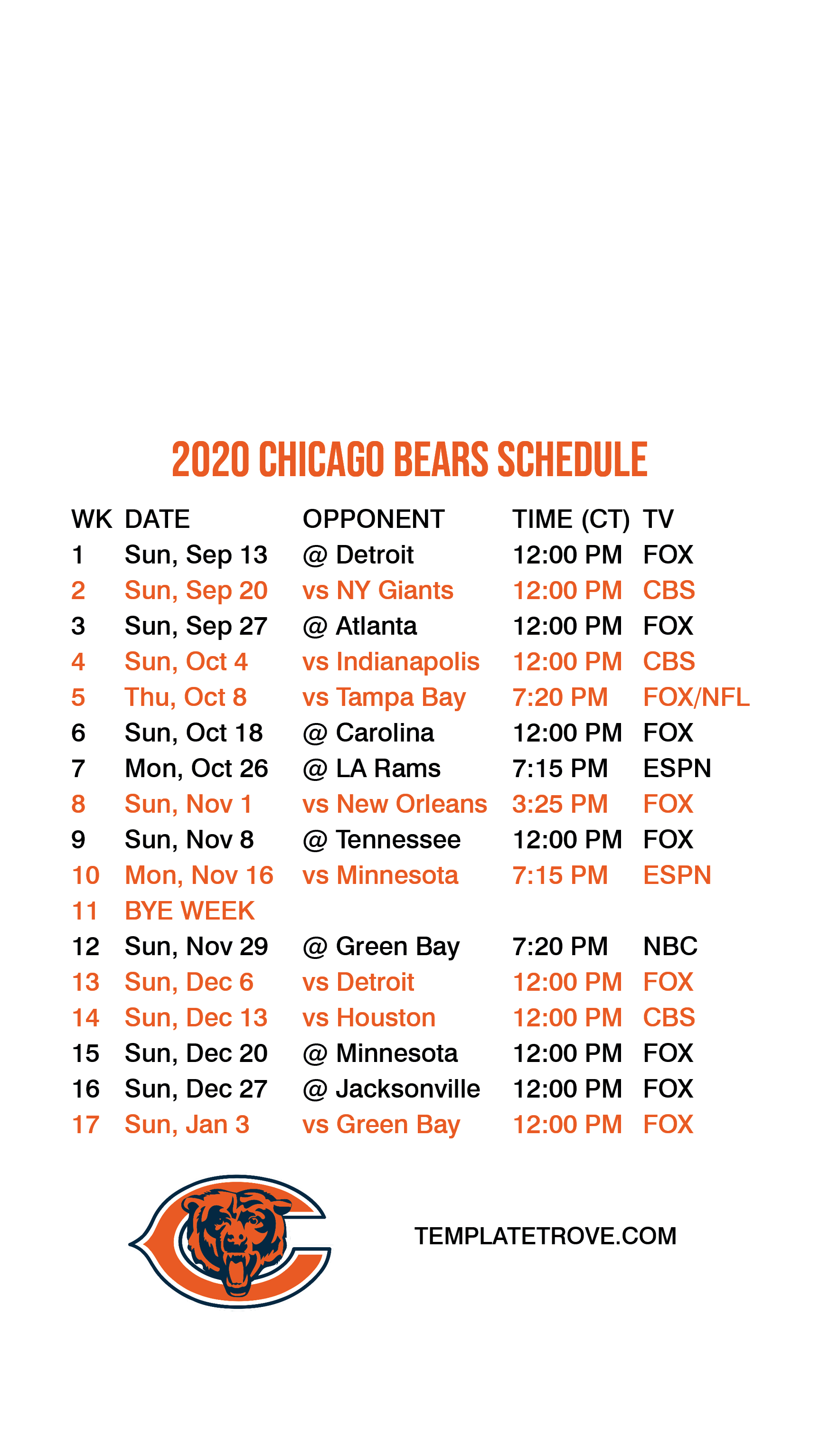 2020 2021 Chicago Bears Lock Screen Schedule For IPhone 6