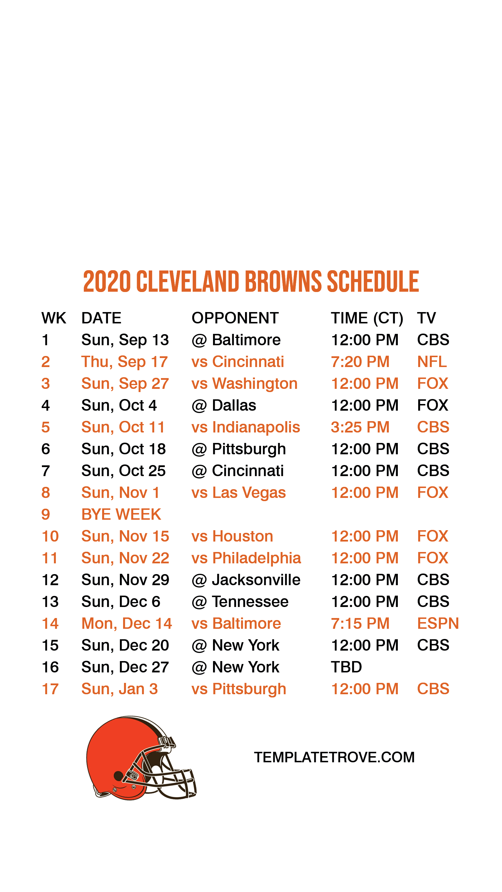 2020 2021 Cleveland Browns Lock Screen Schedule For IPhone
