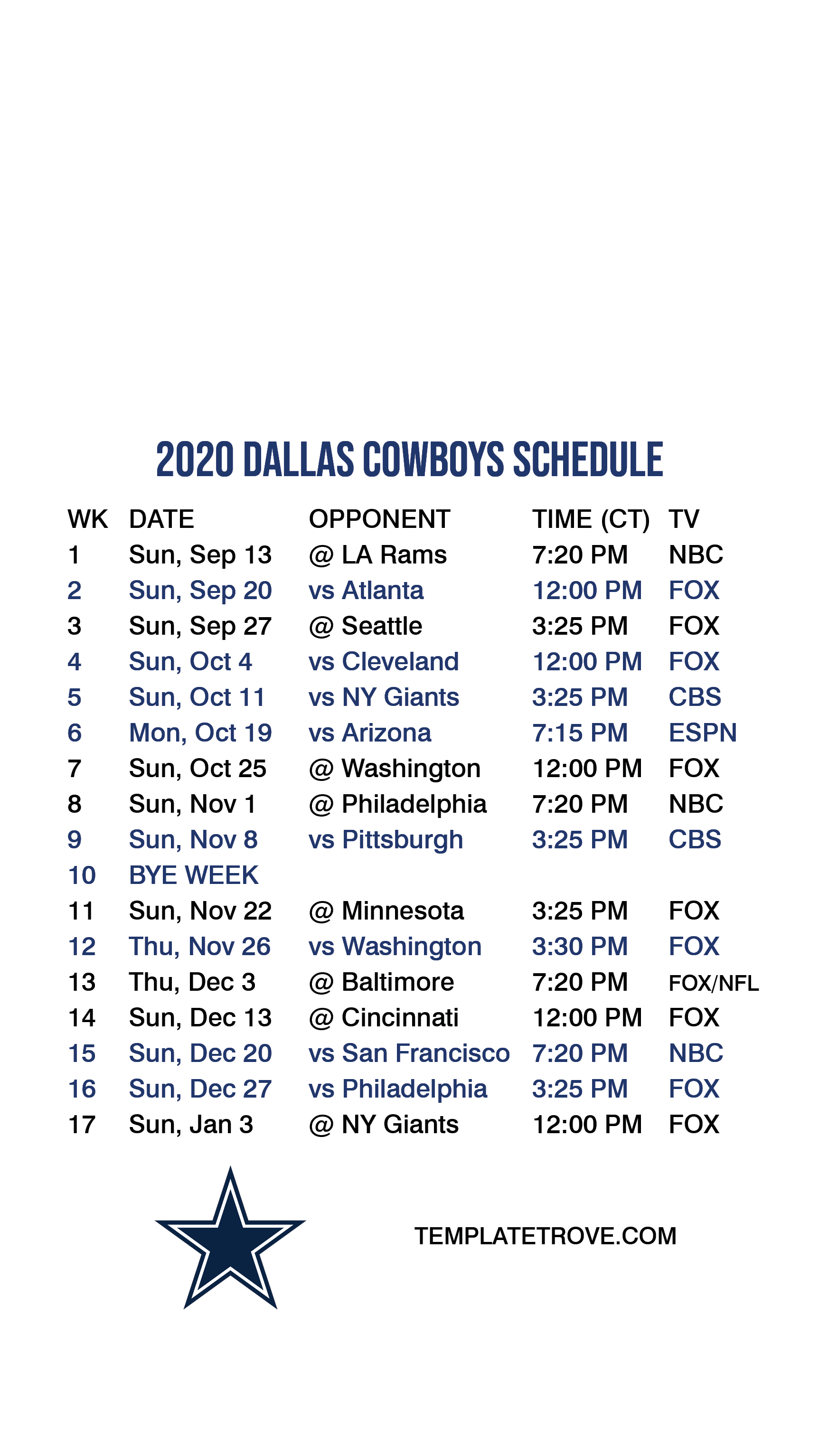 2020 2021 Dallas Cowboys Lock Screen Schedule For IPhone 6