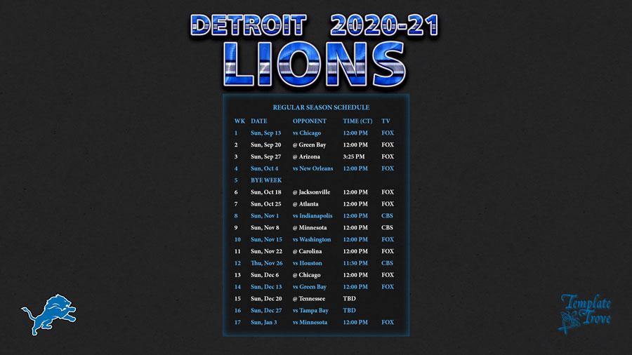 2020 2021 Detroit Lions Wallpaper Schedule