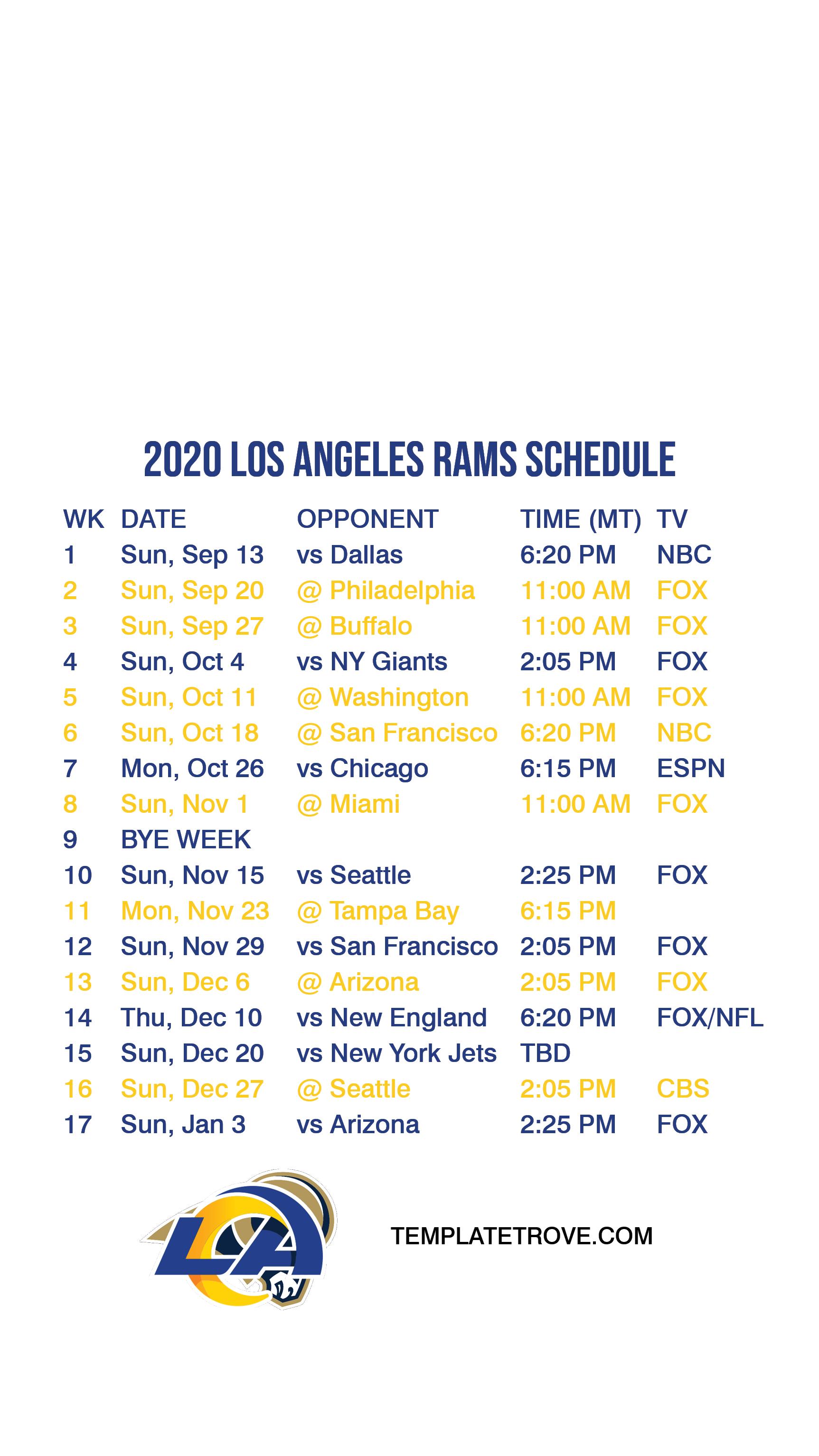 2020 2021 Los Angeles Rams Lock Screen Schedule For IPhone