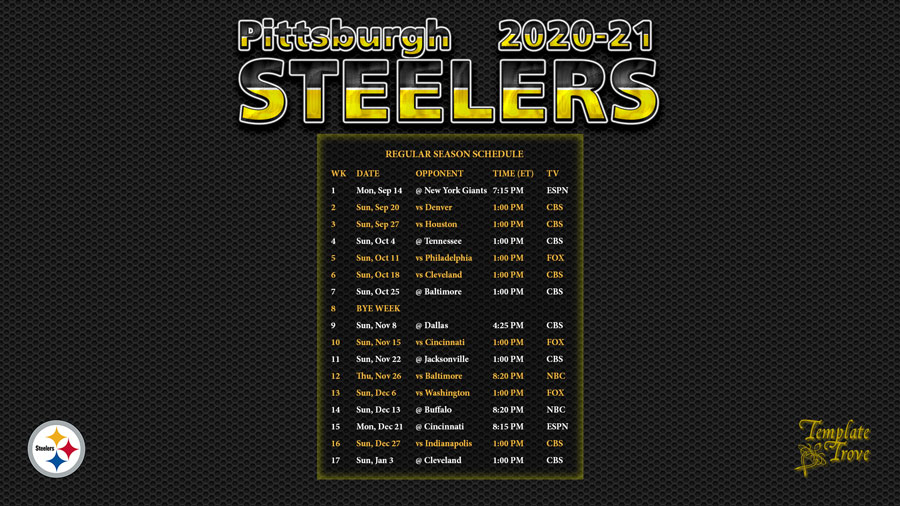 2020 2021 Pittsburgh Steelers Wallpaper Schedule