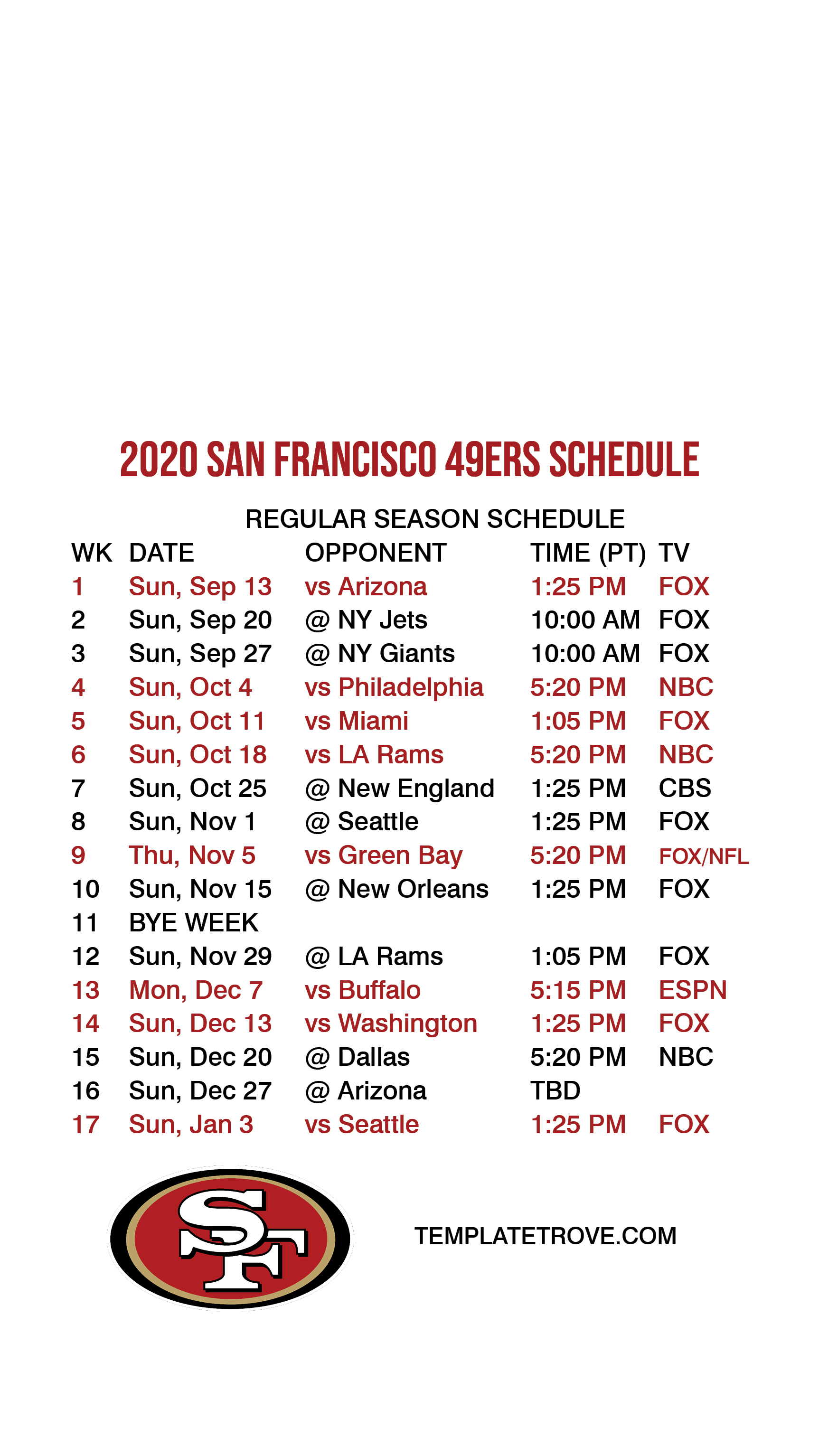 2020 2021 San Francisco 49ers Lock Screen Schedule For