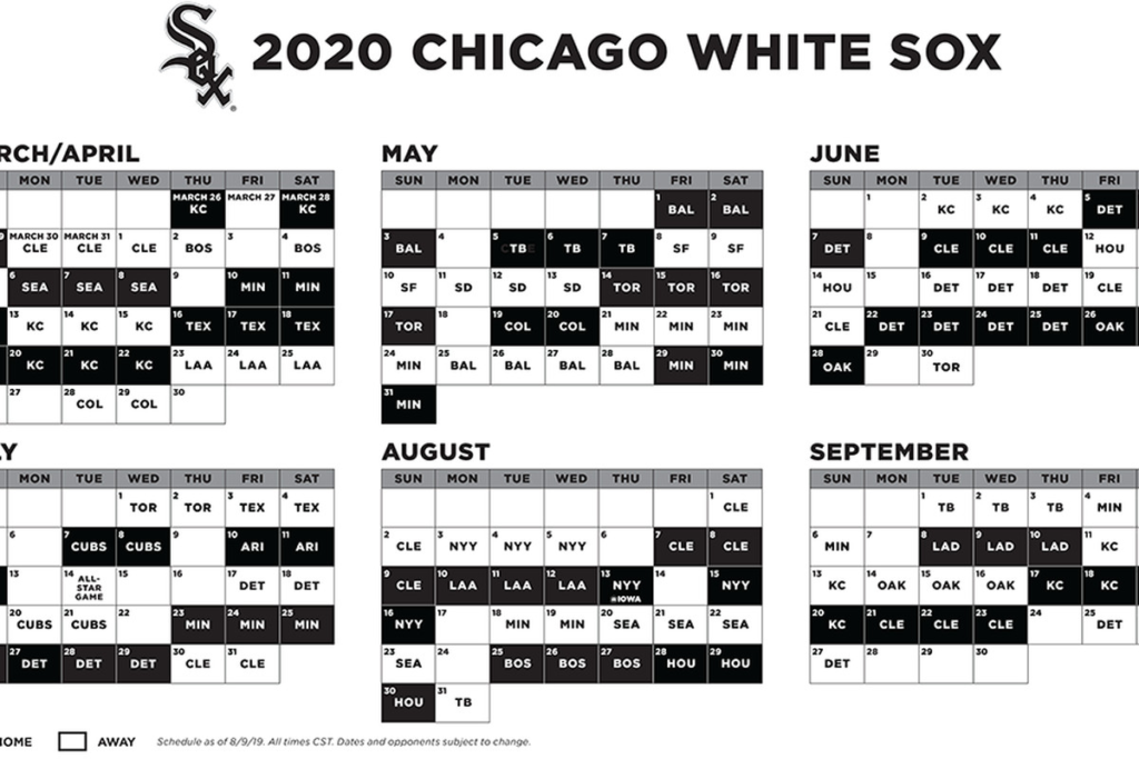 2020 Chicago White Sox Schedule Chicago White Sox The