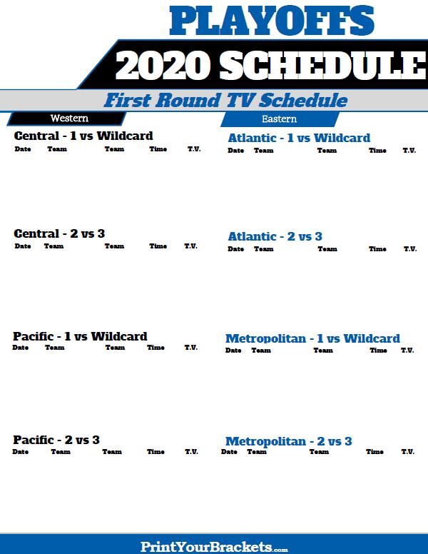 2020 NHL Playoffs TV Schedule Printable