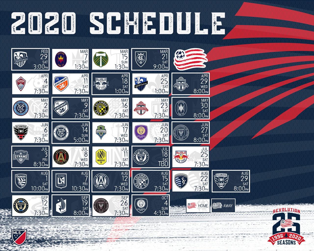 2020 Schedule Wallpapers New England Revolution