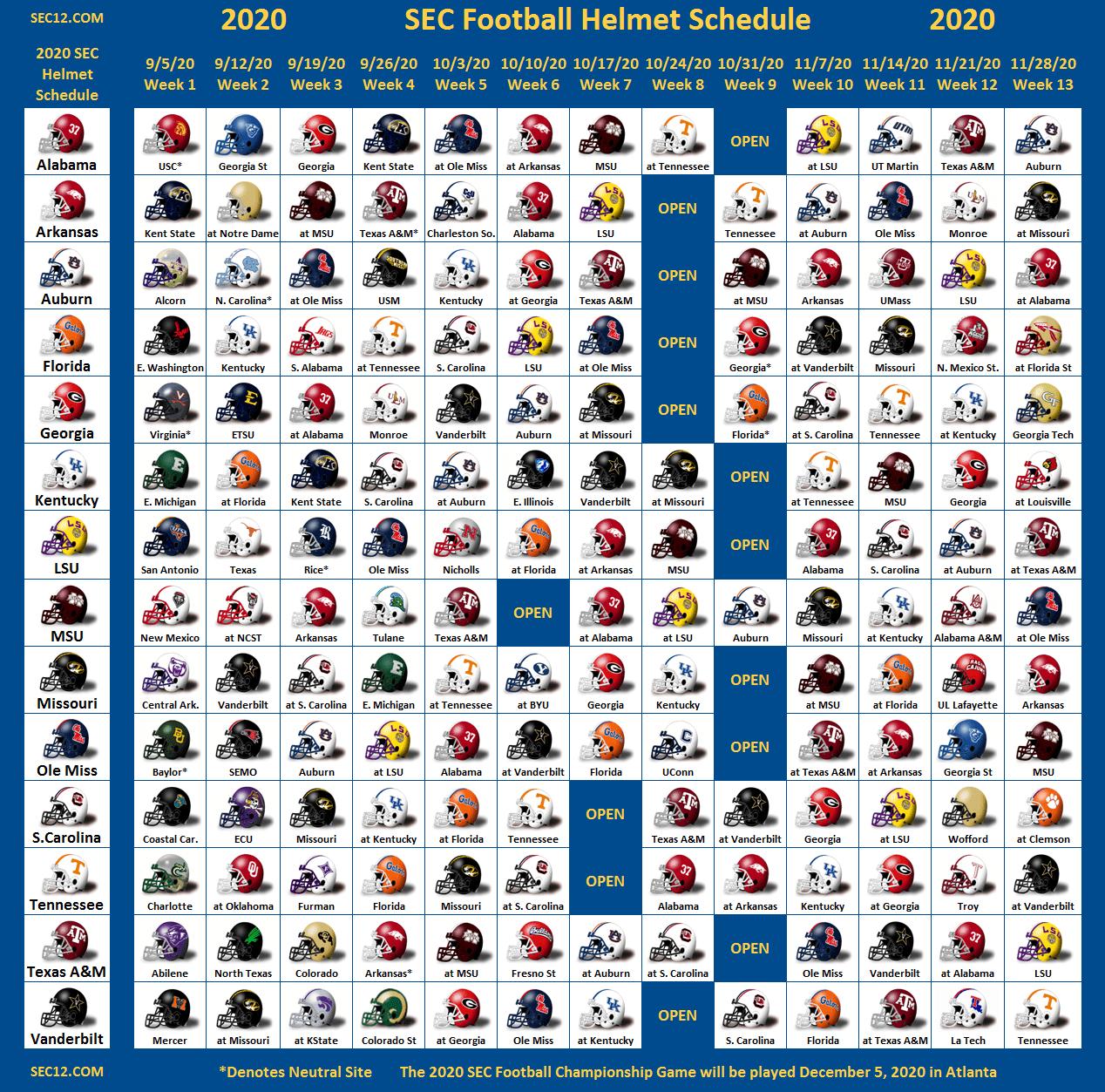 2020 SEC Football Helmet Schedule SEC12 SEC Football