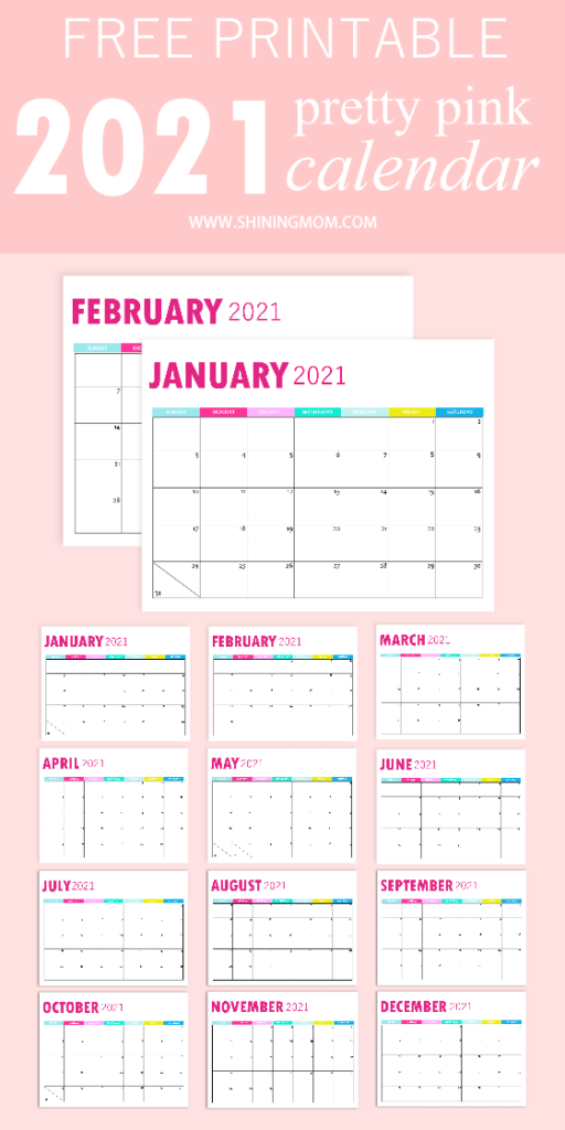 2021 Monthly Calendar Printable So Pretty In Pink