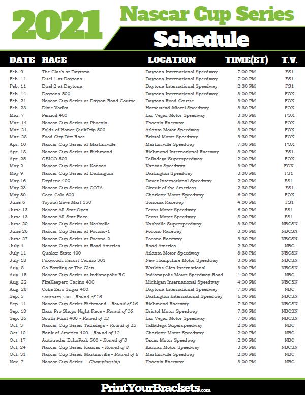 2021 Nascar Schedule Printable
