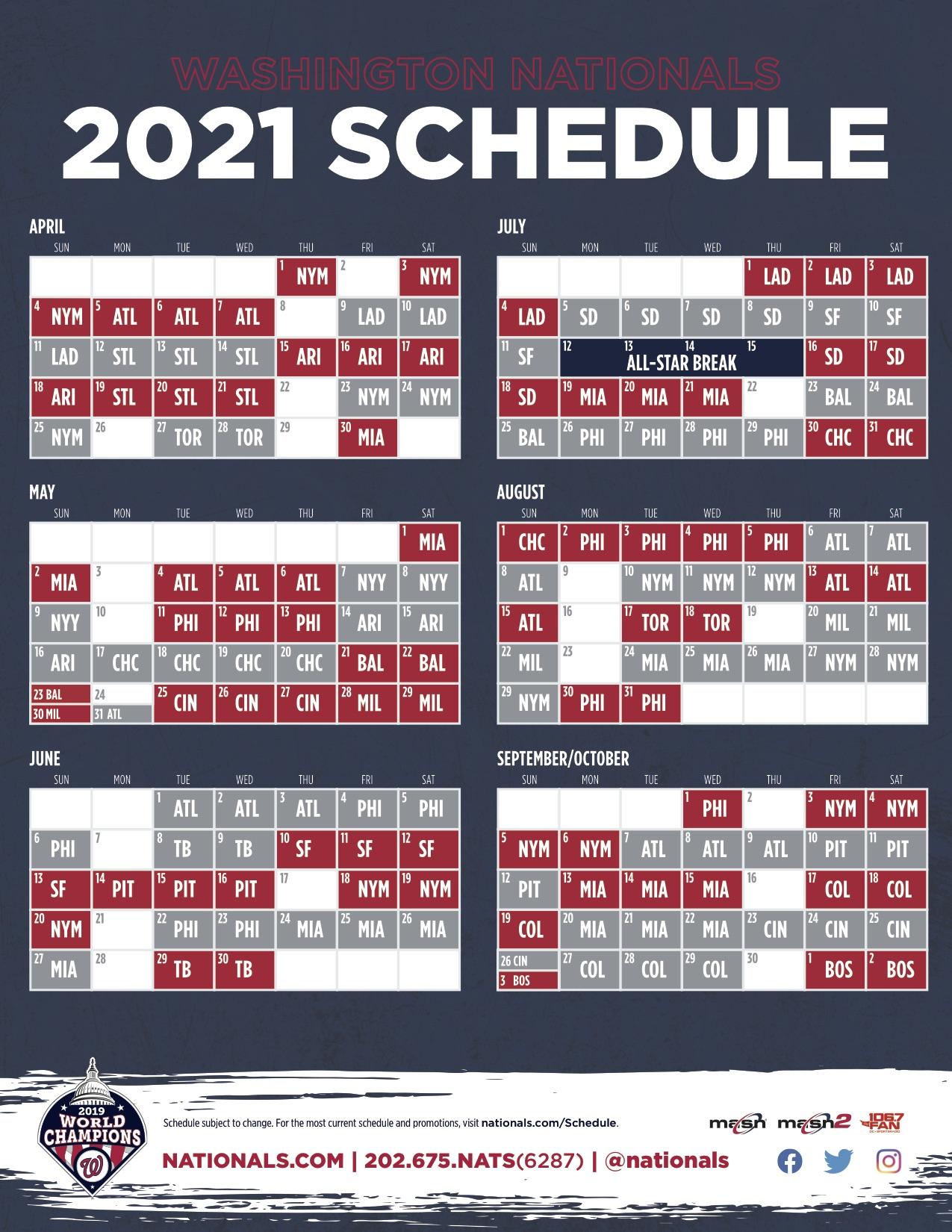 2021 Schedule Announced Nats To Host Mets In Opener