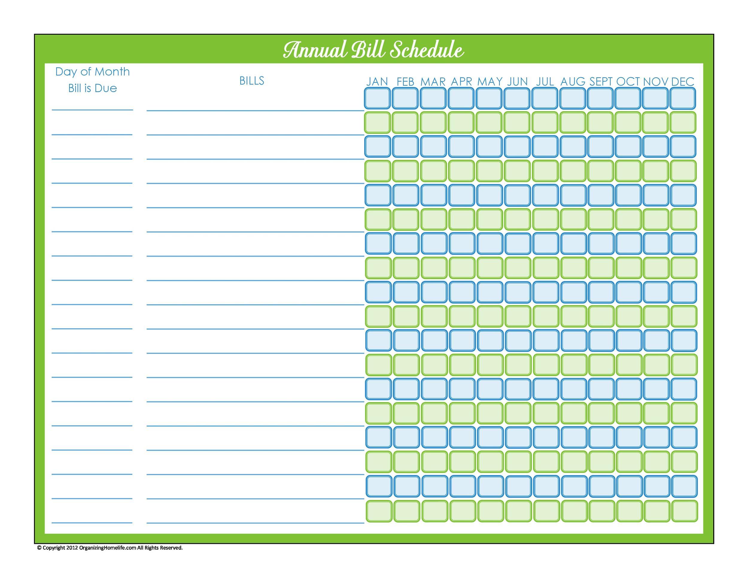 33 Free Bill Pay Checklists Bill Calendars PDF Word