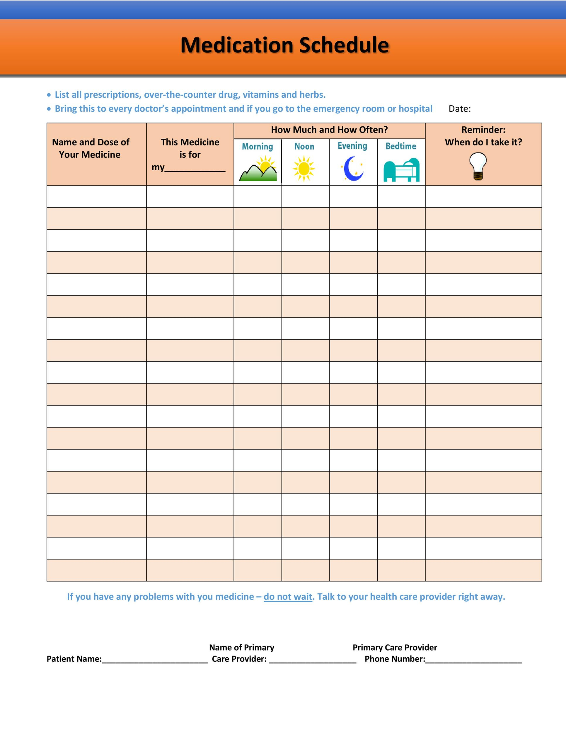 40 Great Medication Schedule Templates Medication Calendars