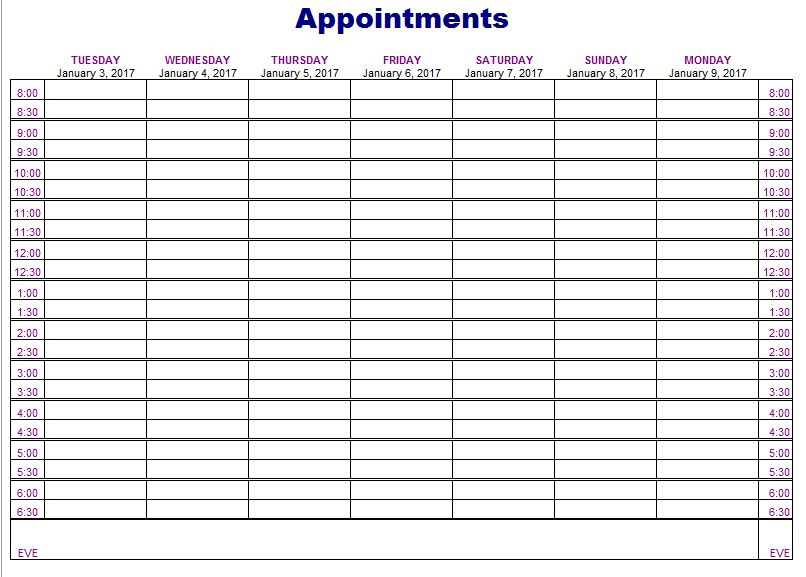 5 Free Appointment Schedule Templates In MS Word And MS Excel