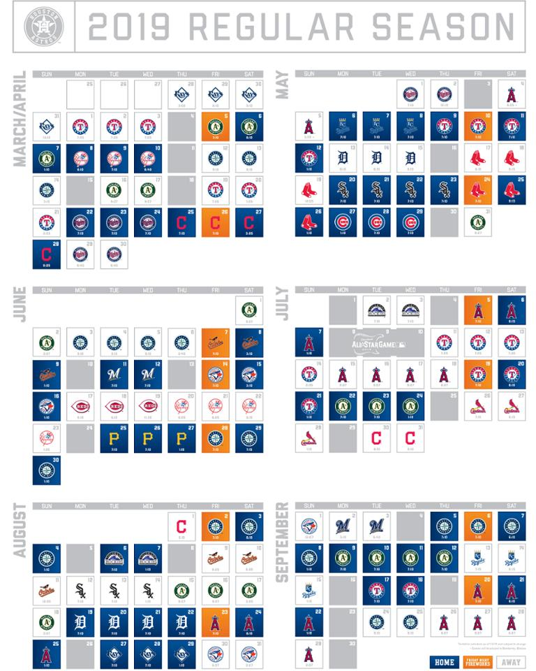 Astros Schedule 2020 Printable That Are Clever Clifton Blog
