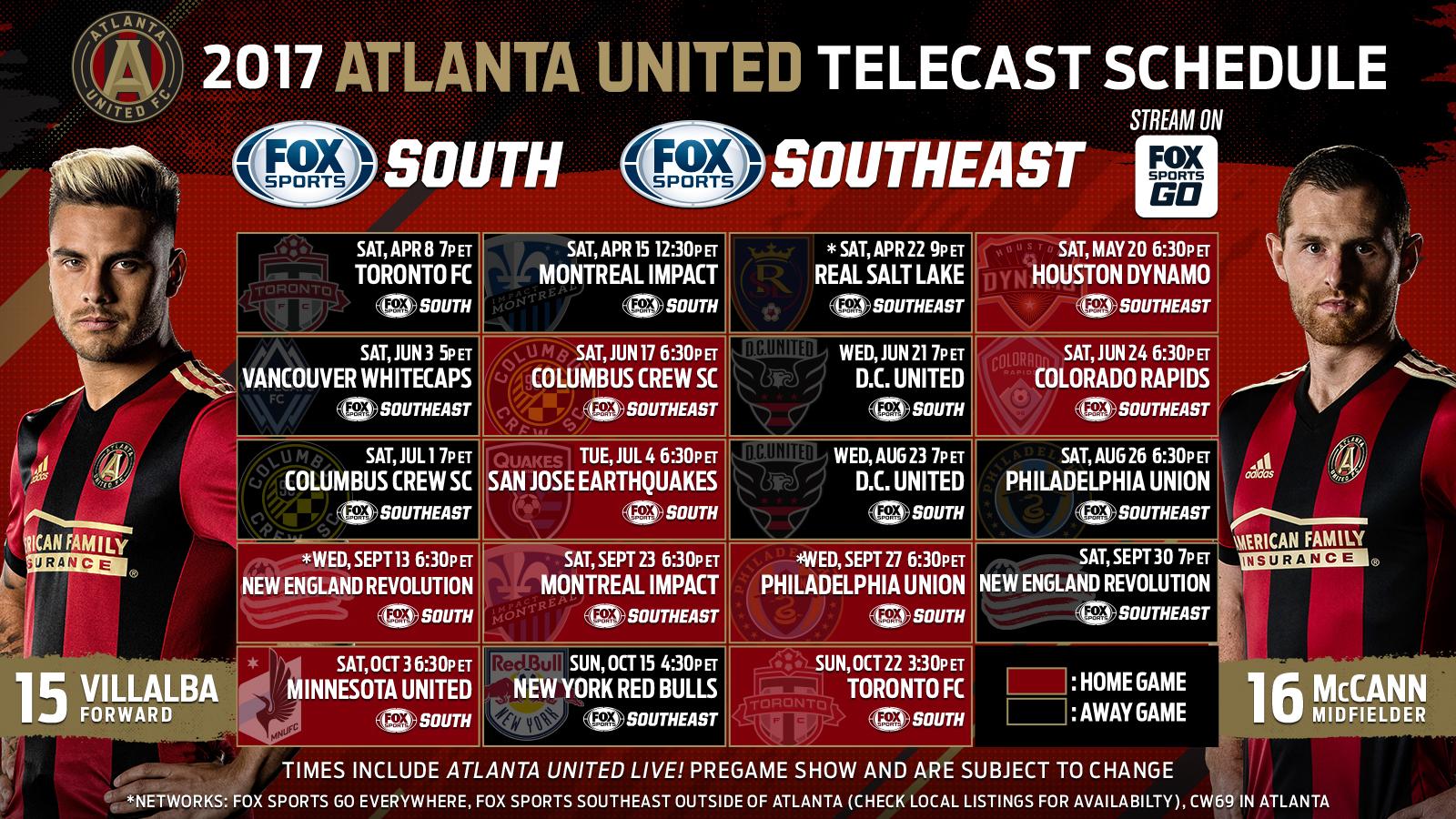 Atlanta United 2017 TV Schedule