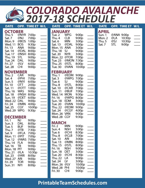 Avalanche Schedule Printable PrintAll