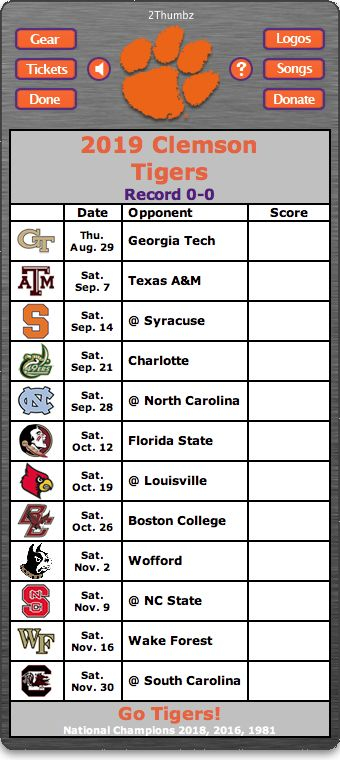 BACK OF WIDGET 2019 Clemson Tigers Football Schedule