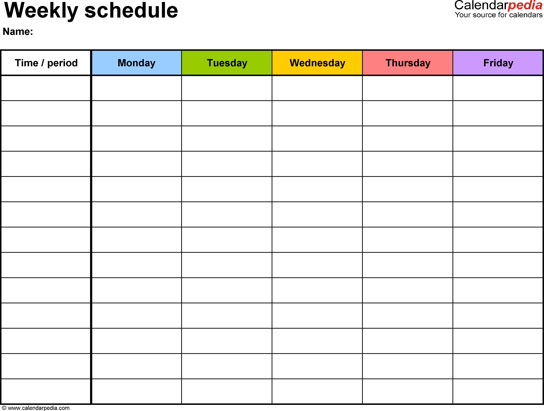 Blank Calendar Print Out Weekly Calendar Template