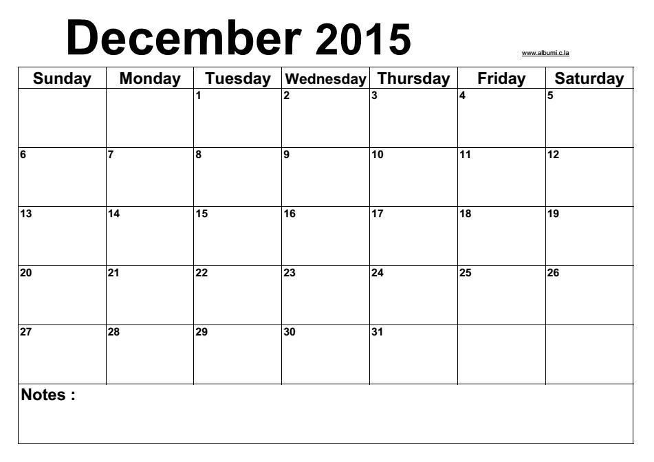 Blank December Schedule 2015 Blank 2016 Blank Calendar