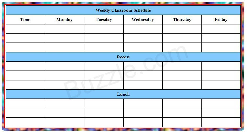 Blank Weekly Class Schedule Template Articulo 21