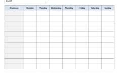 Blank Weekly Work Schedule Template Daily Schedule