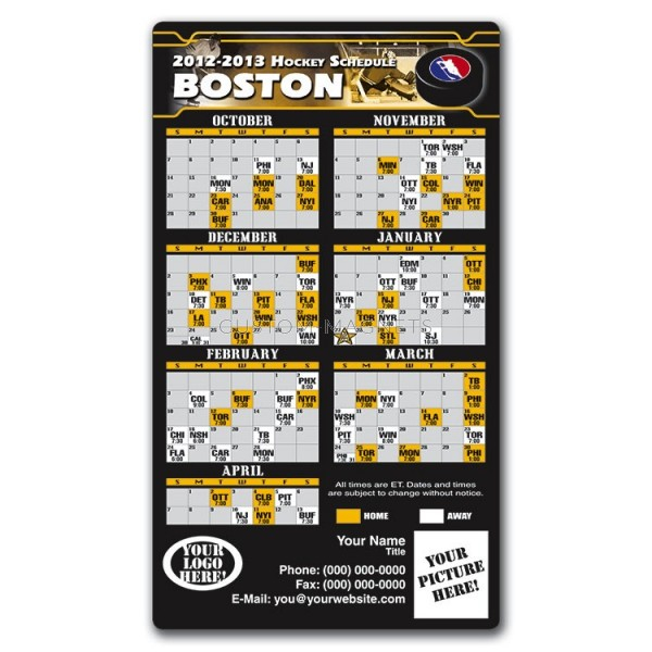 Boston Bruins Pro Hockey Schedule Magnets 4 X 7 Custom