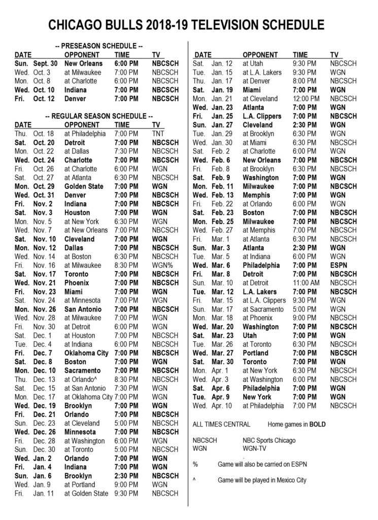 Bulls Announce 2018 19 Television Schedule Chicago Bulls