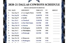 2021 Dallas Cowboys Schedule Printable