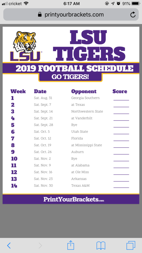 Can Someone Please Share 2019 LSU Football Schedule