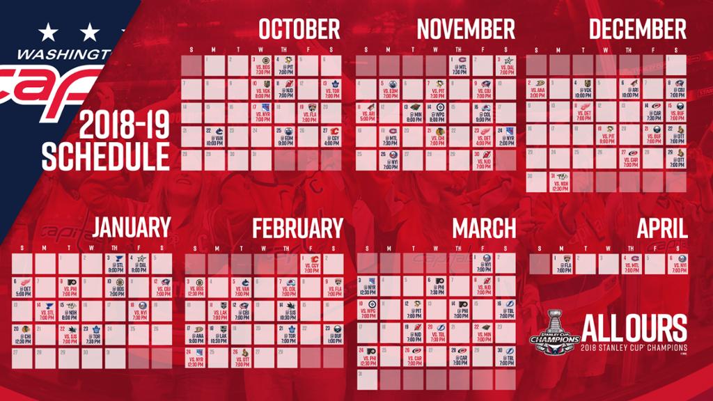 Capitals Announce 2018 19 Regular Season Schedule NHL