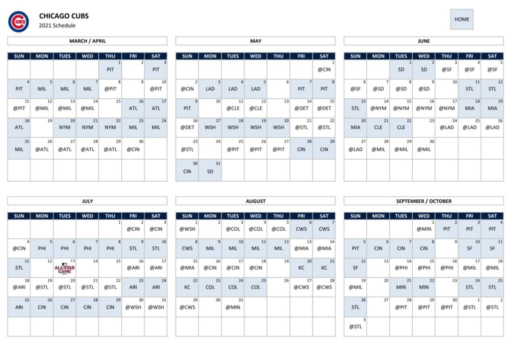 Chicago Cubs Announce 2021 Schedule