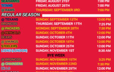 Chiefs Printable Schedule 2015 Kansas City Chiefs Schedule