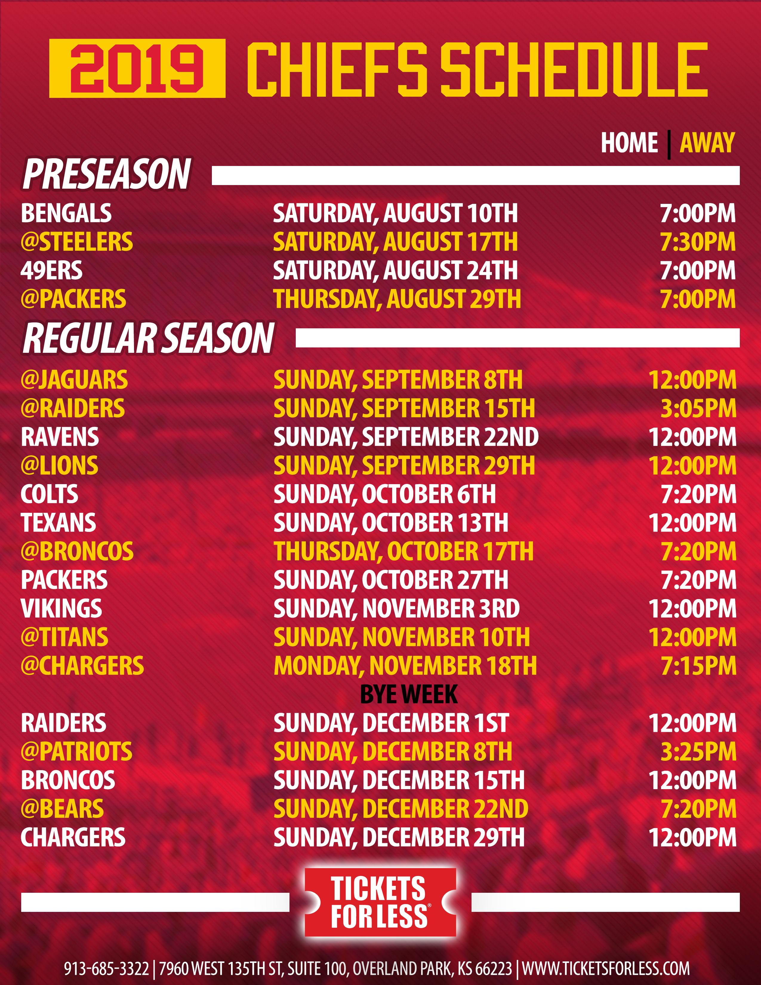 Chiefs Printable Schedule 2019 1 Kansas City Chiefs